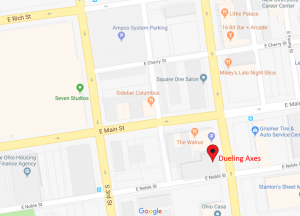 Columbus axe throwing at Dueling Axes Google location