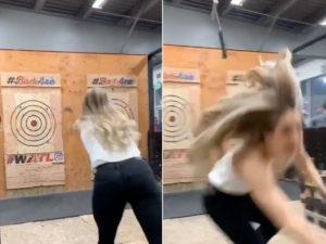 Axe Throwing Viral Video Screenshot